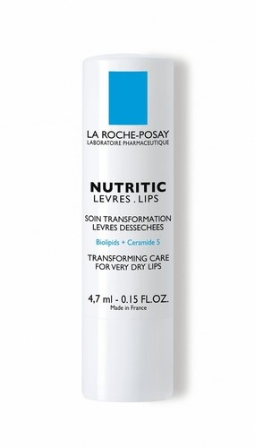La Roche Posay Nutritic Lips- Lip Balm.  I swear by this little tube from France.  It has a very fine formula that goes on silky smooth, keeps my lips moisturized and super soft.  When I'm not wearing lipstick, I'm wearing this.