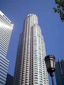 The US Bank Tower in Downtown LA is the tallest building in the US west of the Mississippi River (1,018 feet or 310 meters). (Tallest building by state)