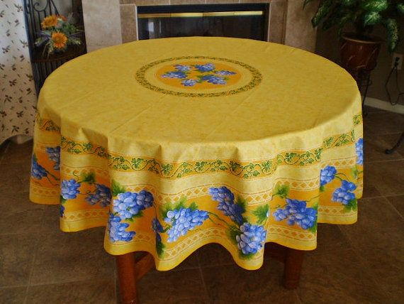French Provence Tablecloth Vintage Print Grape Yellow 70 Inches Round  Cotton   Wine Lovers French Design Home Decor Tablecloths