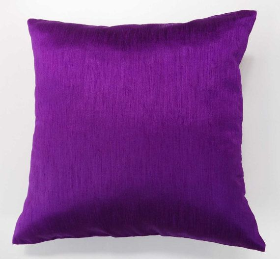 purple pillow cover made with art silk fabric. Solid  purple  cushion  cover. Purple  throw  cushion cover 18 inch custom  made