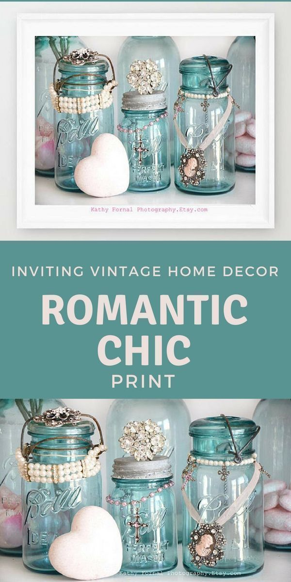 Shabby Chic Decor, Vintage Mason Ball Jars Photography, Aqua Blue Turquoise Ball Jars Print, Shabby Chic Decor, Vintage Decor, Kitchen Decor #ad #vintageshabbychickitchen #shabbychicdecorkitchen