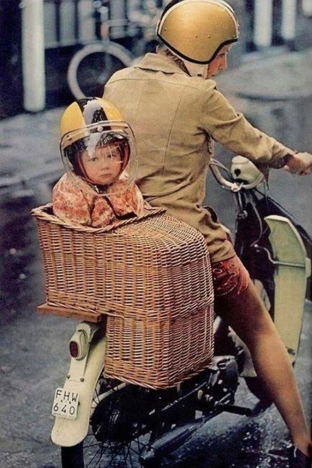 It puts the child in the basket...