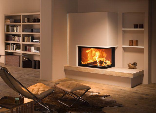 cheminée d'angle avec insert, rangement, bibliothèque / fireplace, bookcase