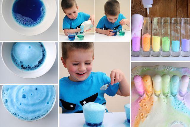 LE VOLCAN CLASSIQUE Cette recette connaîtra un franc succès, promis! Remplissez à moitié un contenant transparent de vinaigre blanc. Ajoutez une dose de savon à vaisselle, un peu de colorant alimentaire et demandez à votre enfant d'ajouter du bicarbonate de soude, une cuillerée à la fois. Vous allez voir, c'est très, très amusant!