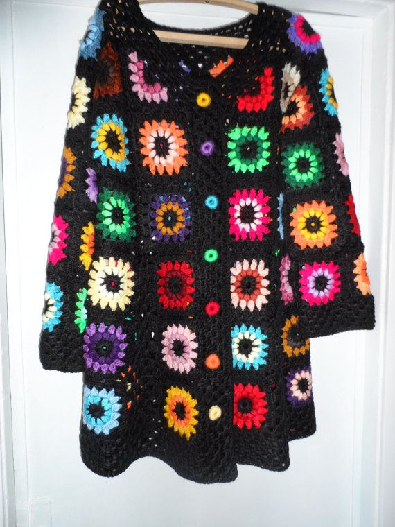 Crochet  granny square puff stitch flowers by krittenart on Etsy, $155.00