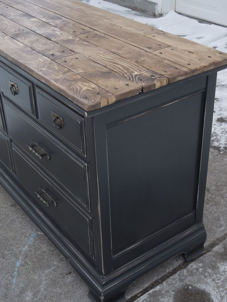 Painted Bassett Dresser   A More Formal Piece Of Furniture Is Given A  Rustic Redo With A Distressed Black Paint Finish And A Salvaged Wood Plank  Top   Via ...