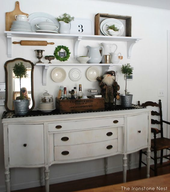 dining room shelving idea with antique buffet - Dining Room Sideboard Decorating Ideas