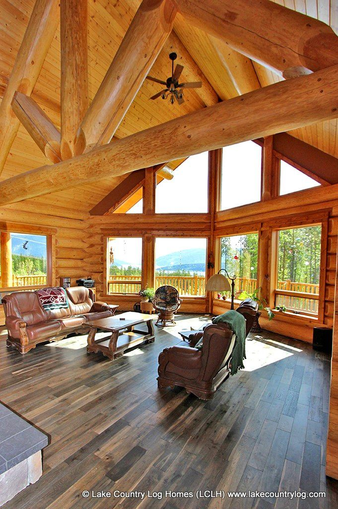 Great Room Of A Handcrafted Douglas Fir Log Home Built In Salmon Arm British Columbia Log Homes Log Home Designs Log Cabin Homes