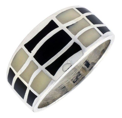 "Sterling Silver Striped Band, w/Black & White Mother of Pearl Inlay, 1/2"" (12mm) wide, size 7 Sabrina Silver. $35.94"
