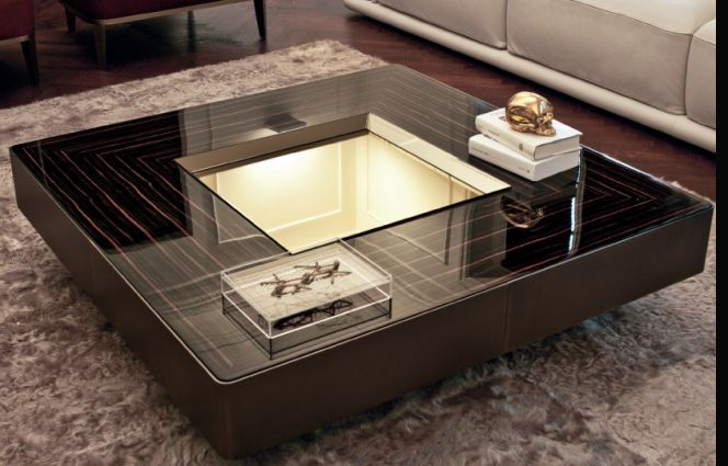 Lord coffee table glossy ebony table with central tray for Table design 2016
