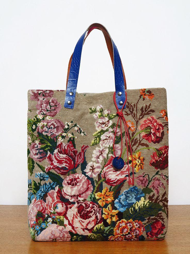 Les SAUVAGE Recyclage de canevas Sac / Tote bag / vintage design needlepoint