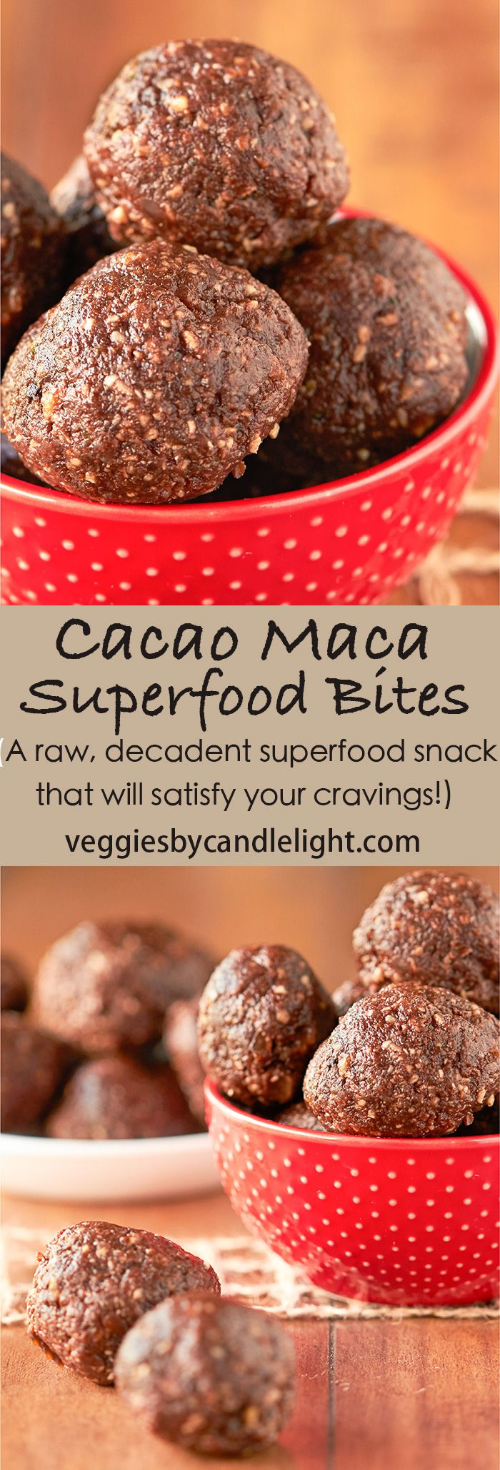 Cacao Maca Energy Bites - Looking for a raw, decadent superfood snack that will satisfy your cravings? These raw cacao maca superfood bites are a dream come true!