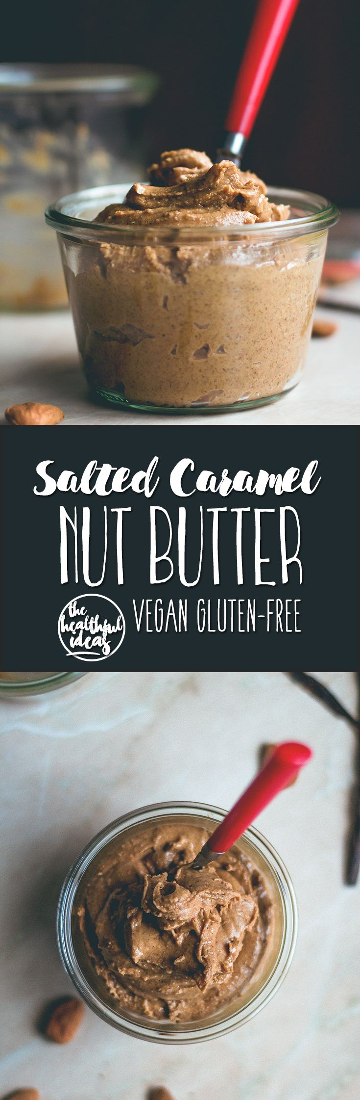Salted Caramel Nut Butter (made with cashews, almonds) This recipe is vegan, contains no processed sugar, and is really easy to make. It's creamy, thick, and sticky. | thehealthfulideas.com