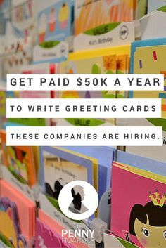 Did you know writing greeting cards is a real profession -- and pays an average of $50K? Here's which Hallmark jobs are available, plus a few other opportunities. - The Penny Hoarder http://www.thepennyhoarder.com/get-paid-to-write-greeting-cards/