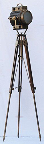 Nautical Hollywood Spot Light Searchlight Studio Floor Lamp With Tripod Stand by nauticalmart. Store Floorsearchlight / Shiv Shakti Enterprises provide instruction sheet w/ Lamp. Bulb : 28 watt standard globe or 10 watt led globe / Bulb will not be sent with the lamp. Floorsearchlight don't compromise with the quality & would send item same as shown image. Total height : 187 cm of the Lamp / Fully adjustable tripod stand. Direct from factory / Free Express delivery from India.
