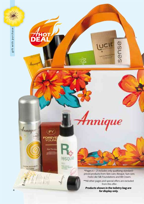 Rooibos Bouquet Toiletry Bag and the Resque Body Lotion 150ml FREE! when you buy any regular priced Annique Products on pages 6 - 21 of the Beaute.