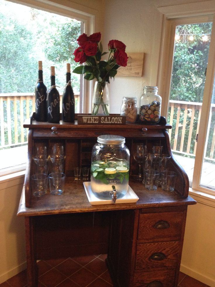 DIY bar cart Turn old roll top desk into a bar station