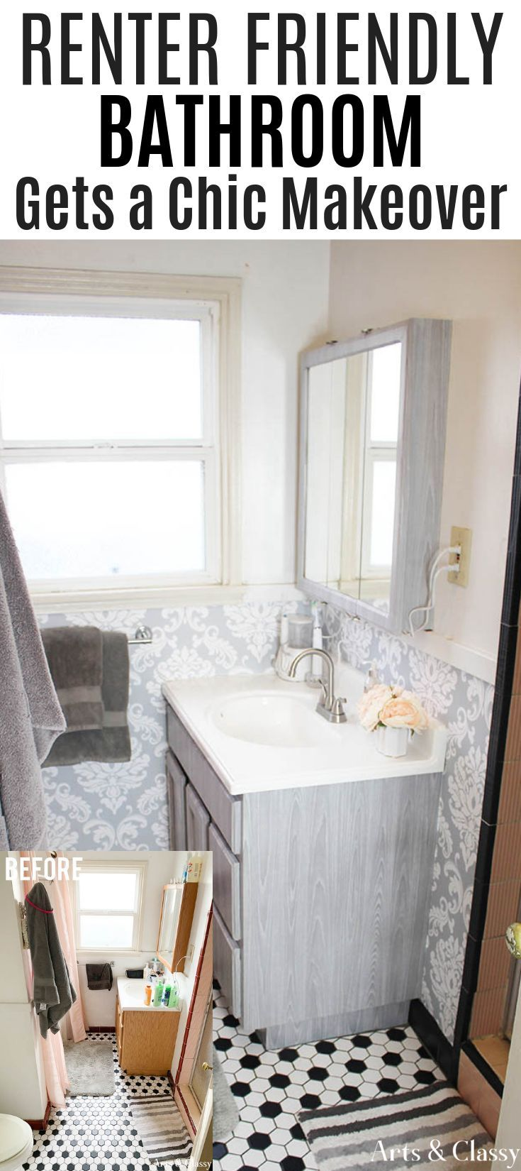 Chic Apartment Bathroom Makeover Tutorial | Hometalk ...