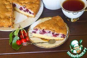 Пирог с вишней на песочном корже - кулинарный рецепт