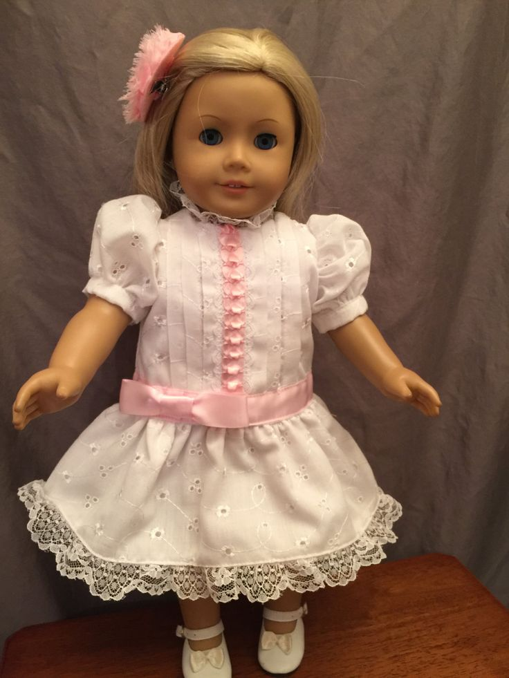 Homemade Doll Dress Fitted For 18 Inch Dolls Like American Girl Dolls: White…