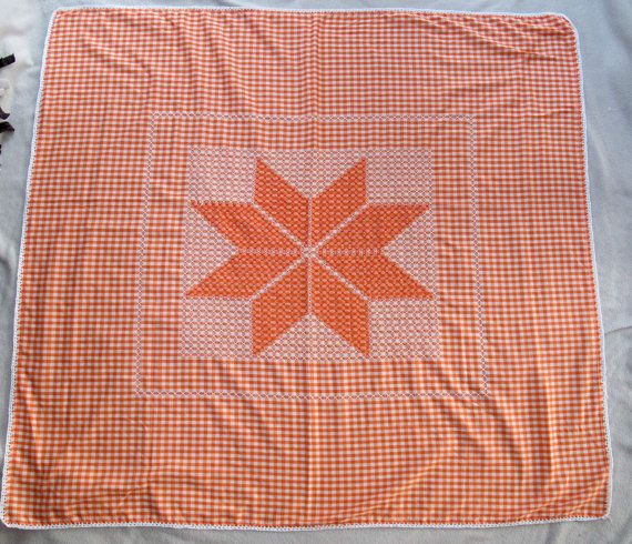SALE Orange and white gingham tablecloth with chicken scratch