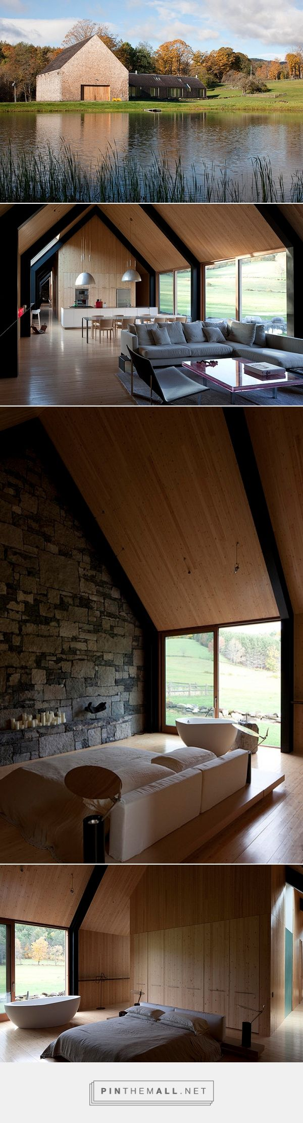 Expressive gable roof and ceiling form to pool (Woodstock House by Rick Joy)