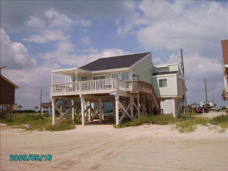 VRBO.  RIGHT on beach.  Really dated on inside though.  Sleeps 6
