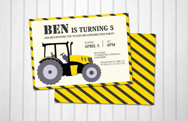 Construction birthday invitation tractor illustration PRINTABLE card - pinned by pin4etsy.com