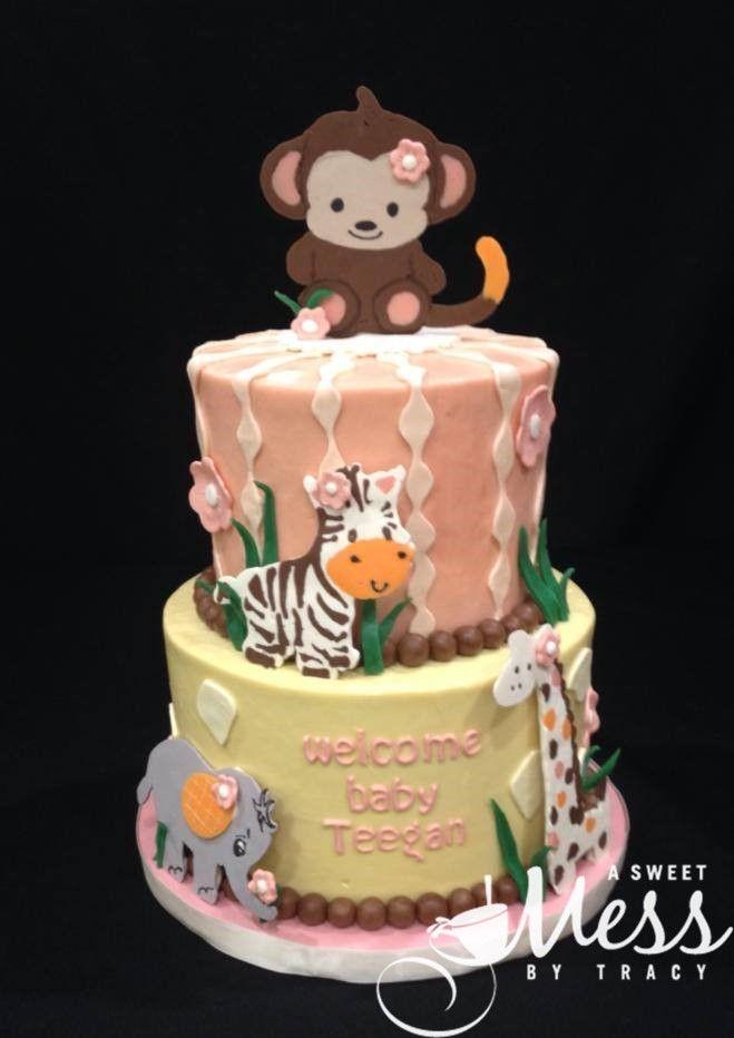 Safari animal baby shower cake