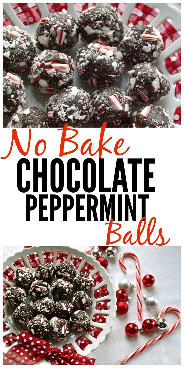 No bake chocolate peppermint balls