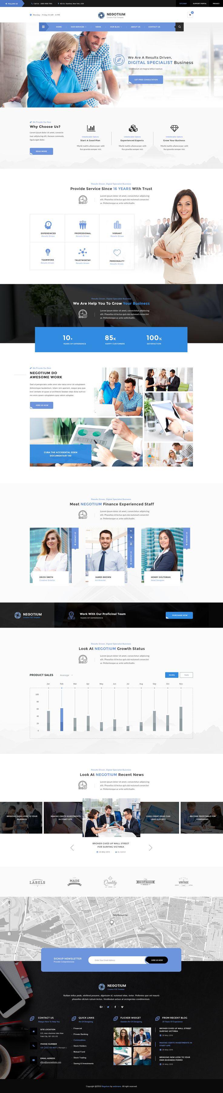 Negotium - Business, Finance, Consultation Multipurpose PSD Template • Download…