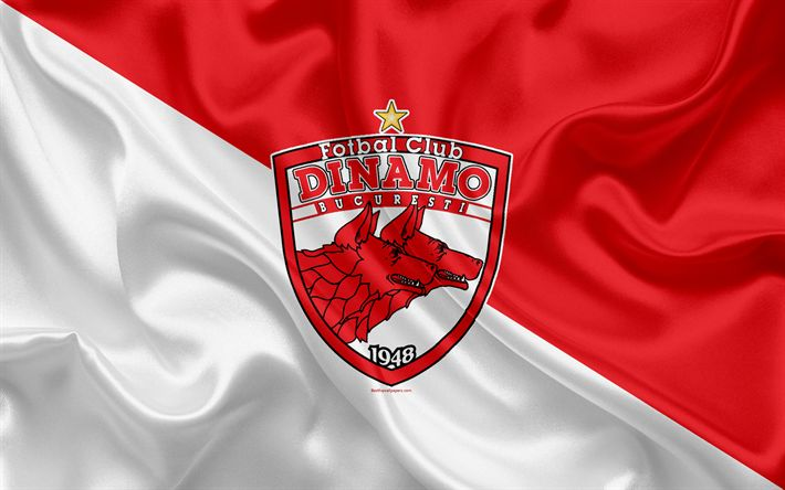 Download wallpapers FC Dinamo Bucuresti, 4K, Hungarian football club, logo, grunge, stone texture, NB I, Hungarian football league, emblem, Bucharest, Romania