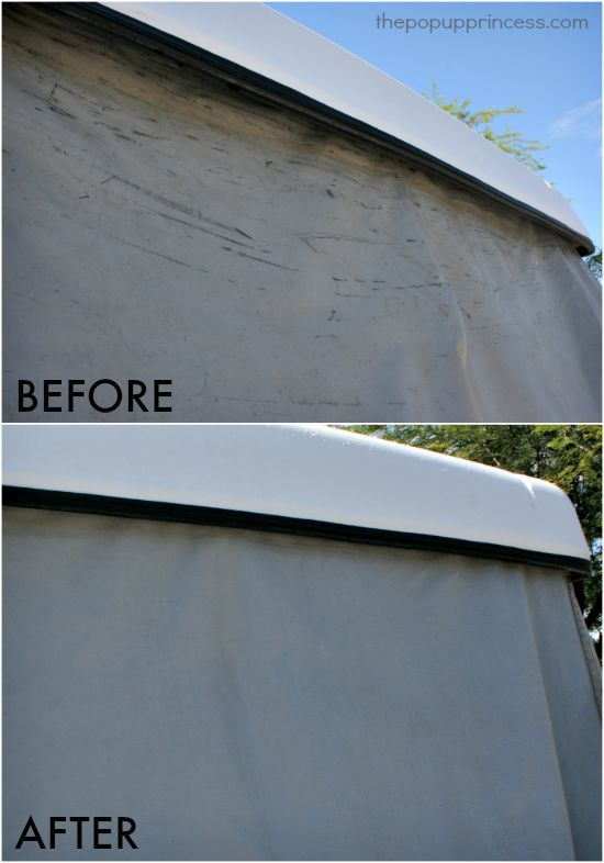 How to Clean & Care for Your Pop Up Camper Exterior:  How to get those ugly black marks off the vinyl bunkends.