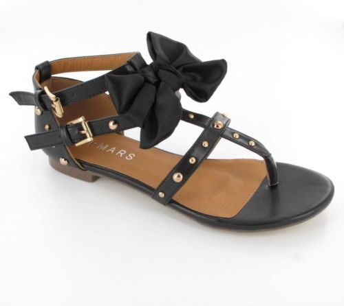 Gorgeous Ladies Womens Flat Sandals Strappy Gladiator Bow Beach Shoes New Size | eBay
