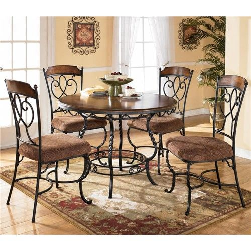 Nola Round Table With Wood Top And Metal Pedestal Base U0026 4 Side Chairs By  Ashley