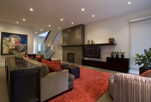 Built in entertainment unit with modern fireplace