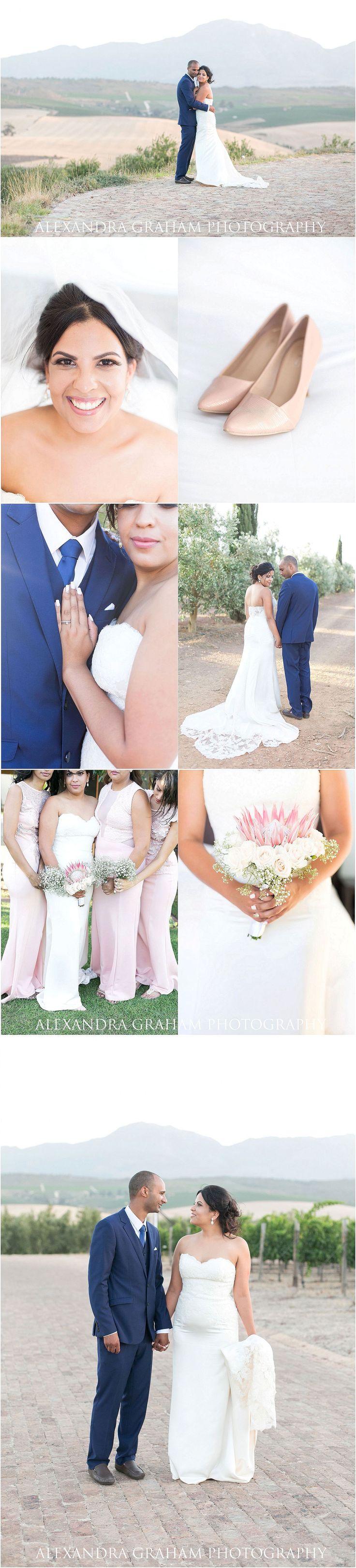 Soft pastel pink wedding - protea and rose bouquet - mountain wedding - Alexandra Graham Photography