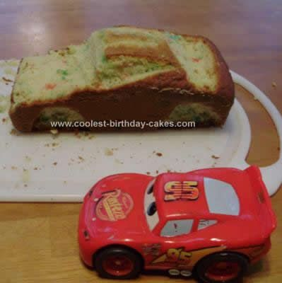 "Homemade Lightning McQueen Birthday Cake: one pinner said ""I have had zero cake decorating classes, but this Homemade Lightning McQueen Birthday Cake was easy enough that I was still able to pull off."""