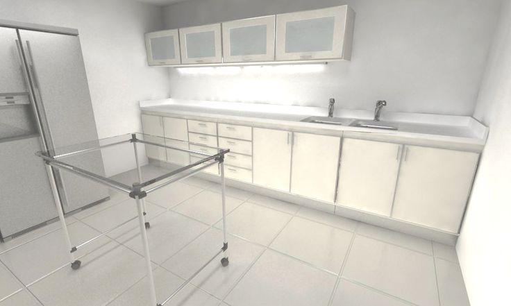 Furniture design Laboratory equipment + storage furniture Product design + 3D model + render  Made for Ideale Mobili, Argentina