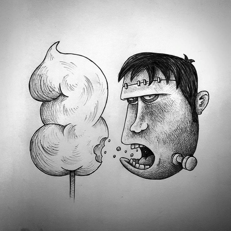 Guido Vitabile - Frankenstein cotton candy - illustration - #inktober #inktober2015 #inktobersonsy #massoneriacreativa - www.massoneriacreativa.com