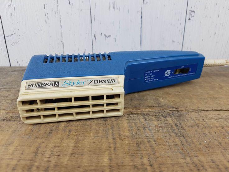 Vintage Sunbeam Styler Dryer Blow Dryer Handheld 500W Blue