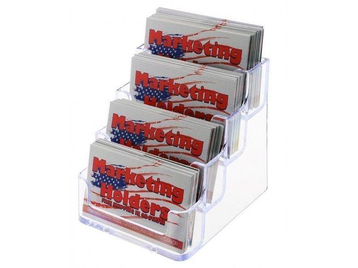 Clear 4 Tier Ladder Business Card Holder Desk Top Calling Card Gift Card Display #UnbrandedGeneric
