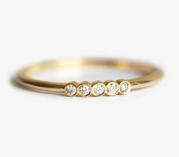 Half Eternity Ring Five Ring Pave Diamond Ring in Bezel