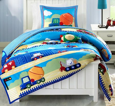 Blue City Cars Trucks Transportation Boys Bedding Twin