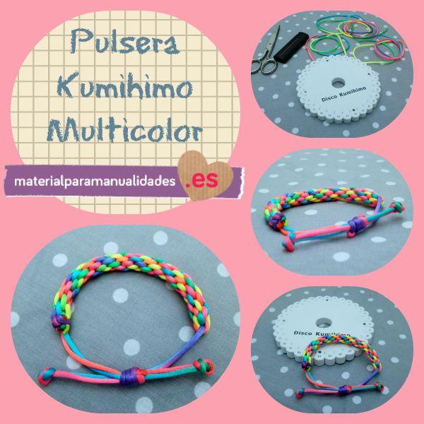 Pulsera Kumihimo redonda multicolor - Material para manualidades  #DIY #Kumihimo #Manualidades #Pulseras