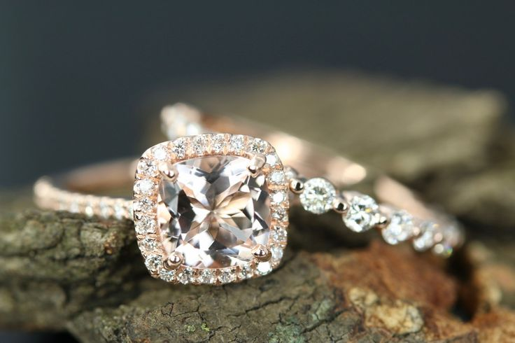 Irene 7mm & Tracy Cushion Cut Morganite 14k Rose Gold Diamond Halo Engagement Ring Half Matching Band Wedding Set Anniversary Ring Set by loveforeverjewelrysv on Etsy