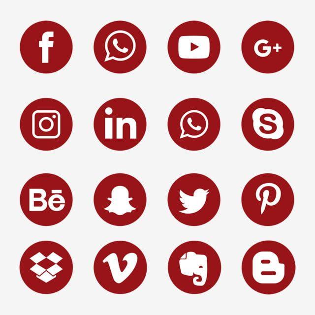 Conjunto De Icones De Midia Social Vermelho Simbolo Do Logotipo Icones Sociais Logo Icones Imagem Png E Vetor Para Download Gratuito Icones Sociais Icones De Midia Social Conjunto De Icones