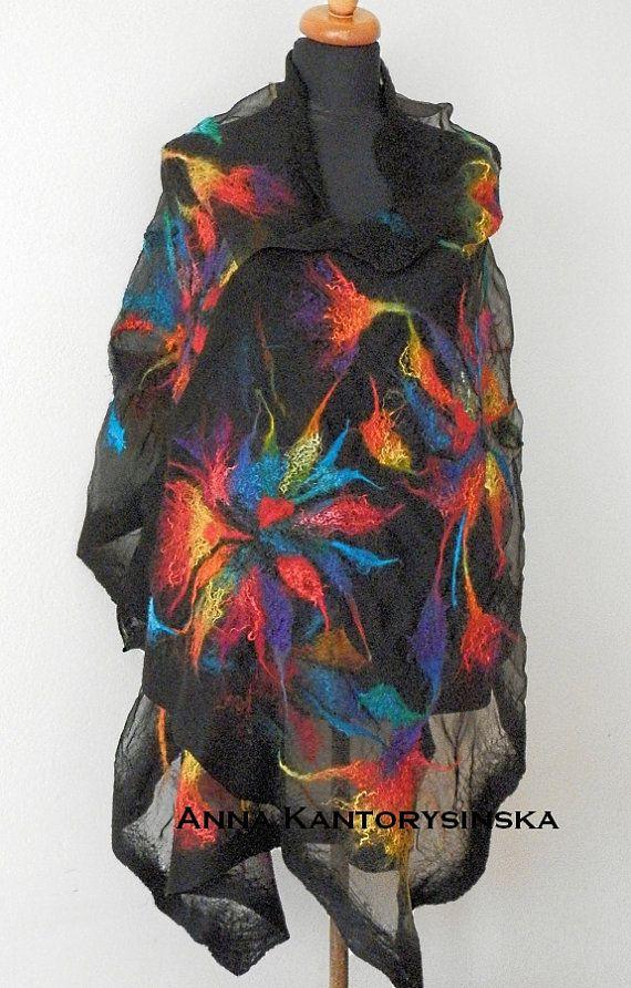 nuno felted silk scarf shawl RAINBOW by kantorysinska on Etsy