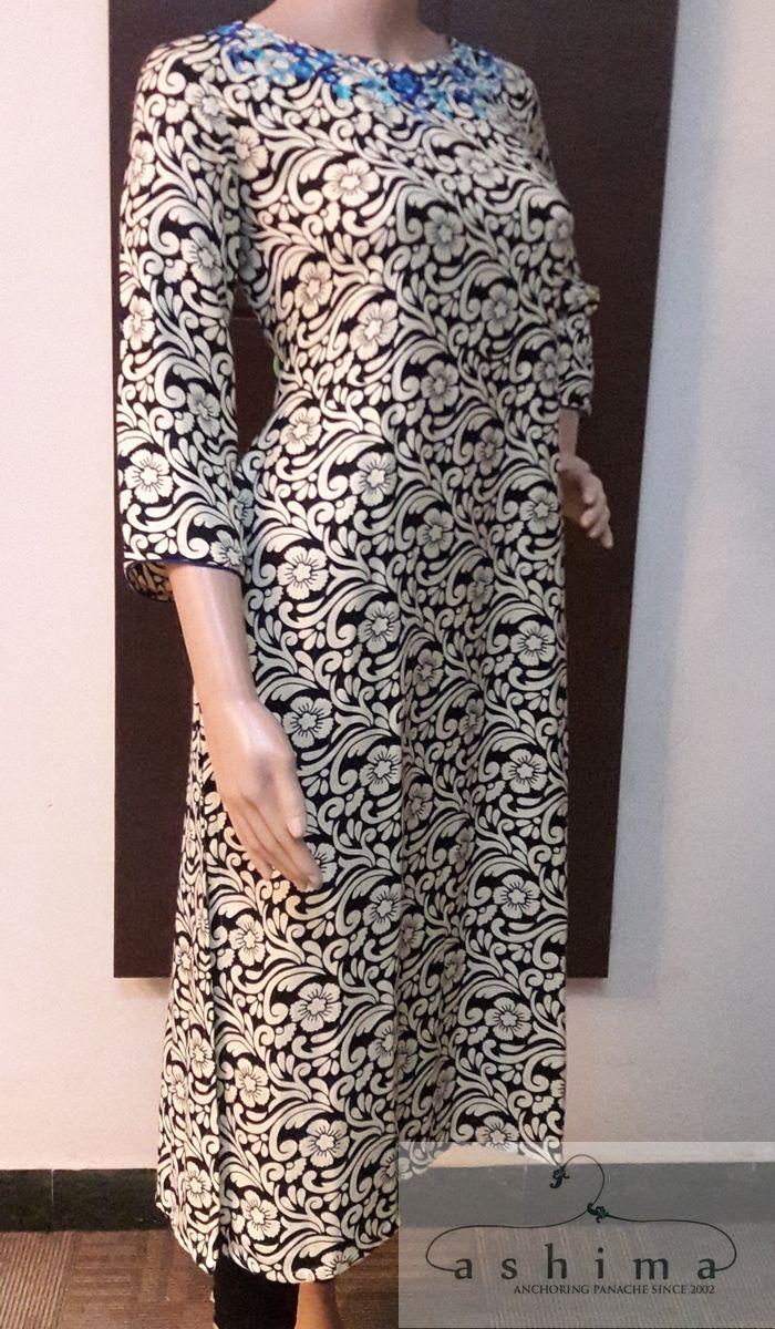 Code:11061710 - Price INR:1850/- , Hand Embroidered Rayon Kurti.