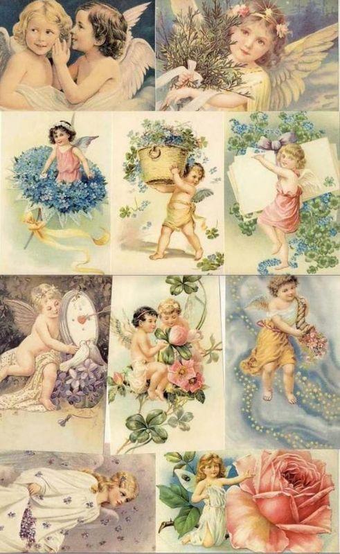 Victorian postcard, angels, cherubs